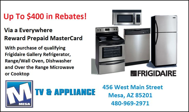 Maximum Rebate Offer on Frigidaire Package! http://discount.mesatvappliance.com/frigidaire-package-400-rebate/