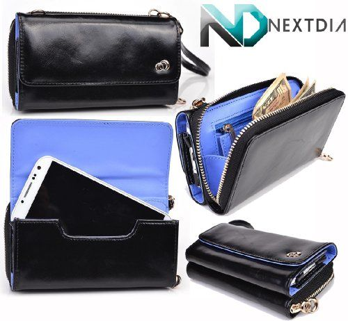 Women's Genuine Black Leather SmartPhone Clutch fits : HTC One SV CDMA : Available with Gold Shoulder Strap + NextDia Velcro Tie Full zippered compartment for monetary needs, accessible without exposing your smartphone. Great texture that is pleasing to the touch and eye. Beautiful periwinkle interior accent color. Internal zipper pouch for coins and two slots for card storage. Gold accents.  #Kroo #Beauty