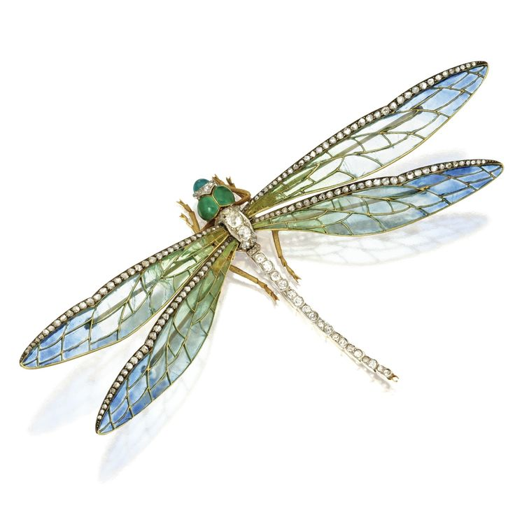 GOLD, PLATINUM, ENAMEL AND DIAMOND DRAGONFLY BROOCH, FRANCE, CIRCA 1900. The wings composed of plique-à-jour enamel in shades of blue and green trimmed by rose-cut diamonds, the body designed as a line of old European-cut and single-cut diamonds leading to a translucent green enamel head, the total diamond weight approximately 2.50 carats, marker's marks for Edgar Bense, French assay marks.