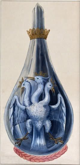 """""""A three-headed eagle in a crowned alchemical flask, representing Mercury sublimated three times.""""  Watercolor painting from Salomon Trismosin's 'Splendor solis'."""