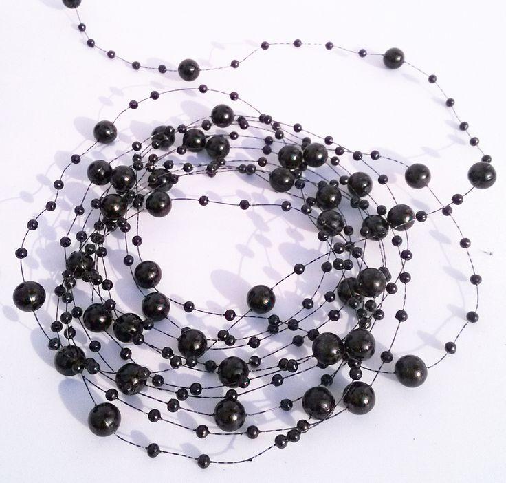 Gratis verzending 72m zwarte kleur 8mm& 3mm parel kraal bruiloft decoratie kerst krans in van op Aliexpress.com