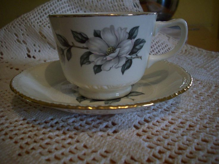 Cup & Saucer - Homer Laughlin China - Magnplia Pattern - Vintage by aPrairiePeddler on Etsy https://www.etsy.com/listing/113276223/cup-saucer-homer-laughlin-china-magnplia
