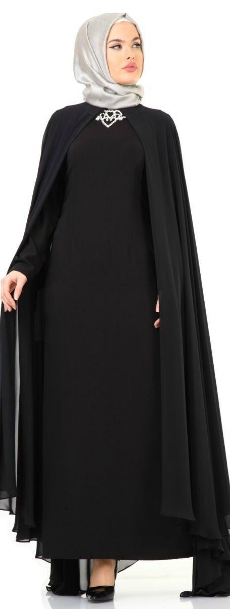 Puane Şifon Pelerinli Abiye Elbise Siyah