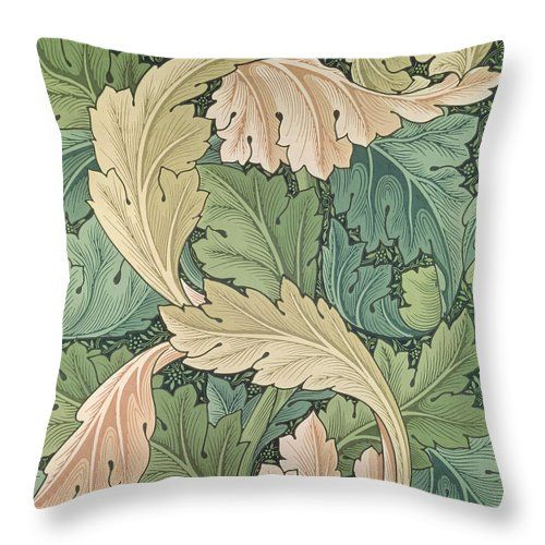 """Acanthus Wallpaper Design Throw Pillow (14"""" x 14"""") by William Morris. Our throw pillows are made from 100% cotton fabric and add a stylish statement to any room. Pillows are available in sizes from 14"""" x 14"""" up to 26"""" x 26"""". Each pillow is printed on both sides (same image) and includes a concealed zipper for easy cleaning. Also carry shower curtain and duvet cover in same print."""