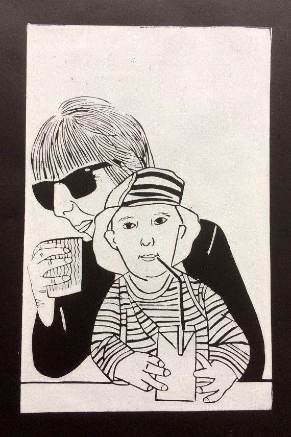 Linocut portrait 'Lincoln and me'  original by BonnysLoft on Etsy
