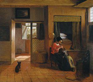 Pieter de Hooch, moeder ontluist het hoofd van haar kind (of Moedertaak)  Gemaakt: 1658-1660, bevindt zich nu in rijksmuseum Amsterdam. Genre: binnenhuis. Op dit schilderij is de taak van de vrouw in de Nederlanden te zien, je ziet dat het huis voor de rest verlaten is en bij het zien van deze afbeelding kan ik me het leven van deze vrouw voorstellen. Er wordt gebruik gemaakt van ruimtes die elkaar afsnijden (de kamers) en het wordt vanaf de ooghoogte bekeken.
