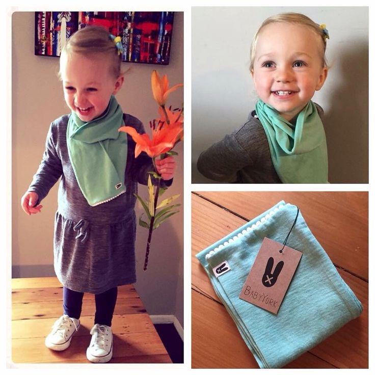 Toddler scarf - Pom pom scarf in mint with white micro pom poms. 100% merino - handmade in New Zealand