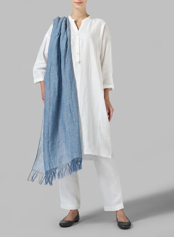 Linen Long Sleeve Long Blouse Breeze through your day with a long blouse that boasts a soft blend that lends to an airy silhouette.