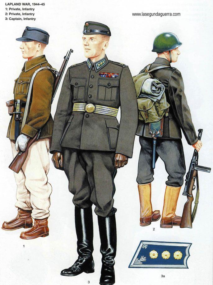 Finnish Army officers and enlisted infantrymen's uniforms during the the 1944-1945 Lapland War.