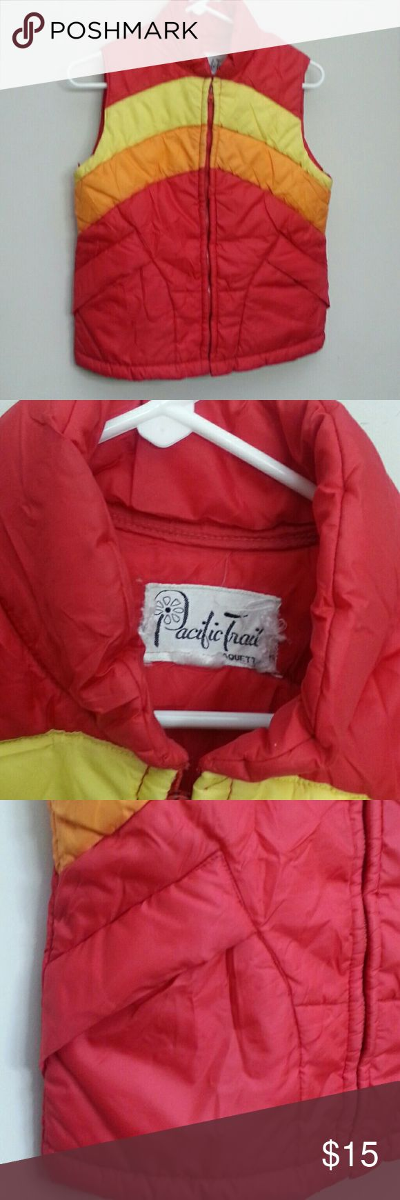 "Awesome Retro 80's Vest Water repellant puffer in bright red orang and yellow.  In good used condition, free of stains, rips, wear. The colors are not as bright as when new though.  Tag is a little tattered.  21""L  17""pit to pit 17"" waist pacific coast Jackets & Coats Vests"
