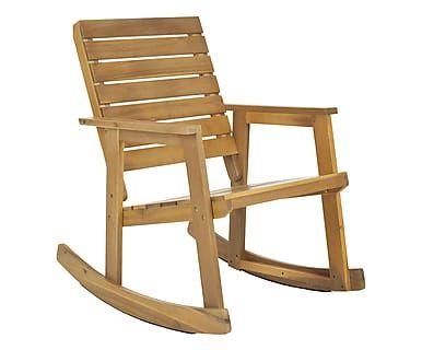 Sedia a dondolo in legno di acacia Elena naturale, 71x70x68 cm