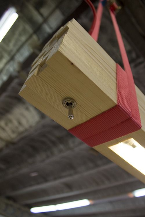Beautiful ROUGH Wood Strips Pendant Beam  #beam #Modern #Wood      ROUGH Lamp came up from a package of wood strips forgotten in a corner of Ruth and Xavi's studio and a need: to light up their work desk ! ...