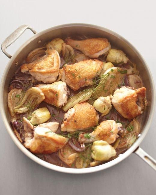 Chicken, Fennel, and Artichoke Fricassee Recipe.. I love fennel with lots of dishes, including fish