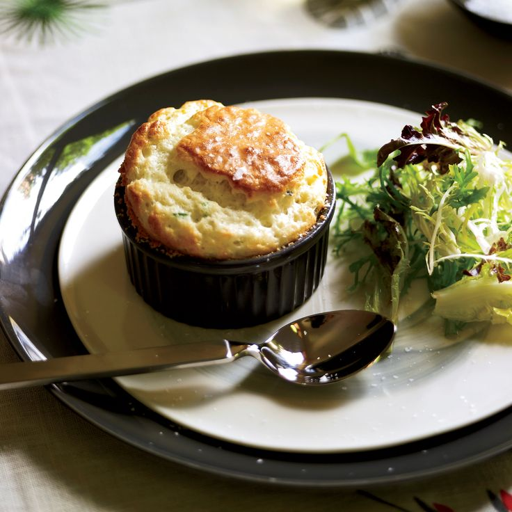 Roquefort Soufflés - To make sure her soufflés rise, Chef Gail Simmons folds lots of fluffy whipped egg whites into a Roquefort- and-Parmigiano-Reggiano base. http://www.foodandwine.com/recipes/roquefort-souffles