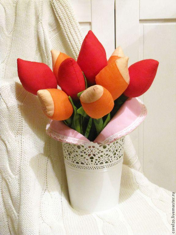 Тильда Тюльпаны красно-оранжевые - тильда тюльпаны,тильда цветы,тильда