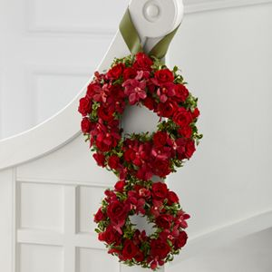 So two of these  would make our wedding date 8/8. Cute for the aisle or maybe the arbor or arch or something.   FTD Florist Flower and Gift Delivery The FTD® Love's Eternity™ Pew Arrangement Kelly's Kreations Florist and Catering Wytheville, VA, 24382 $135 ea.