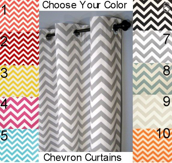 "Chevron Grommet Curtains - FREE SHIPPING - Choose Your Length and Your Color - 25"" Wide x 60, 72, 84, 90, 96, 108 or 120"" Long by DesignerPillowShop on Etsy"