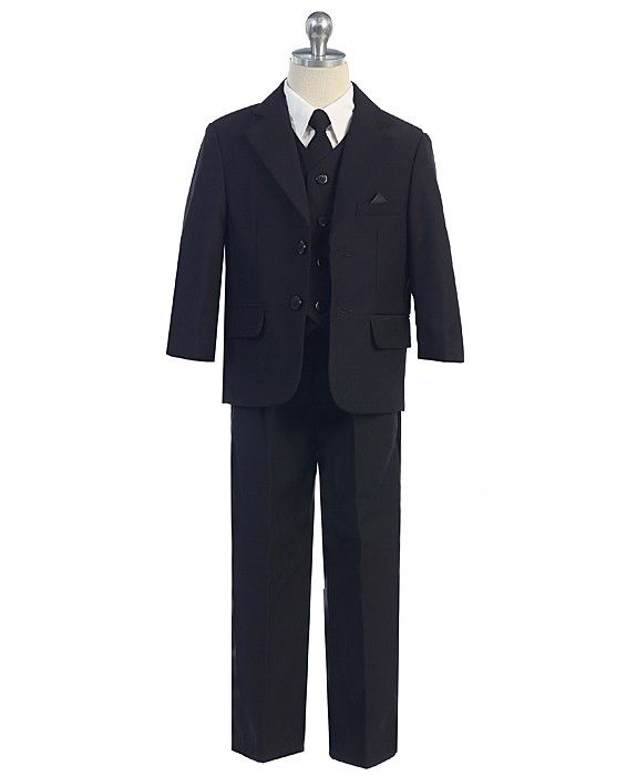 251 - 2 Button 5pc Suit (Slimmer Fit). Available in Black, Charcoal, Grey, Navy, White - Boys