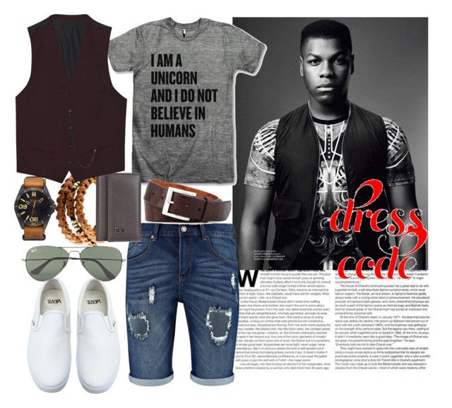 Timeless Man: look 4 by azanian-roots on Polyvore   featuring polyvore fashion style Vans Anna e Alex The Kooples Dolce&Gabbana Ray-Ban BOSS Orange