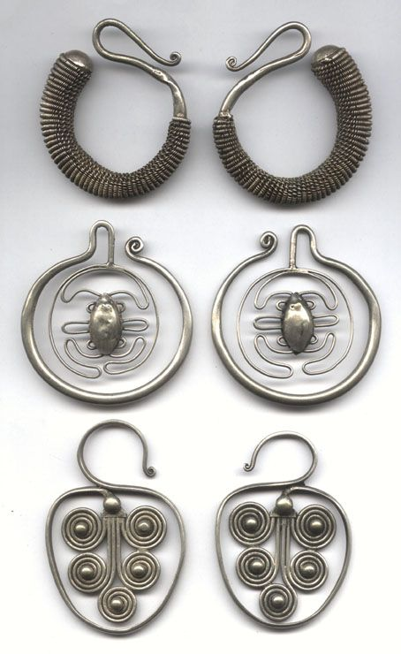 antique asian tribal earrings. Try the top pair with pieces of Viking knit