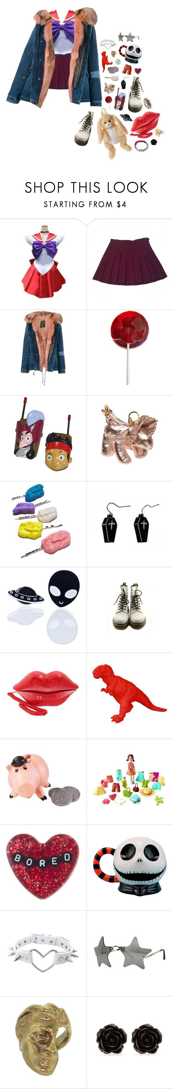 """Pretty soldier"" by queenofrocknroll ❤ liked on Polyvore featuring American Apparel, Mr & Mrs Italy, Disney, Giles, Novelty, Haus of Dizzy, Dr. Martens, Mattel, Yunus & Eliza and Erica Lyons"