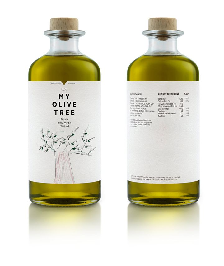 "My Olive Tree branding, mousegraphics. client [came] to us with the simple request of ""creating a family gift""... was meant to address first of all the members of a Greek family of olive oil producers in Karpofora, Messinia. We had to pay tribute to a strong, living tradition and this is exactly what we did. We used a children's drawing that conveys in the most direct way a lineage in the form of a tree and we placed every family member's name on its branches."