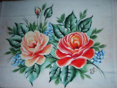 Pintura em Tecido Passo a Passo Com Fotos: Pintura em Tecido Rosas Passo a Passo
