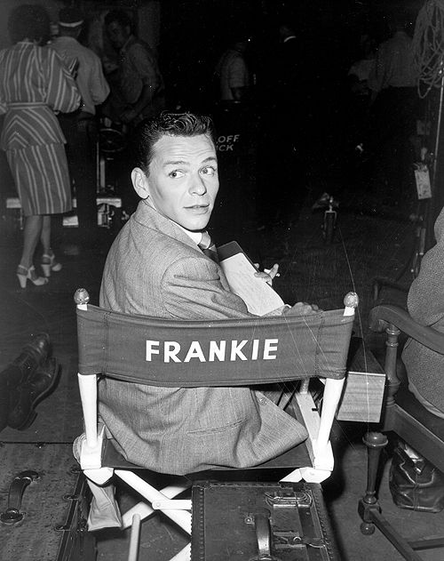 Frank sinatra on the set of it happened in brooklyn 1947
