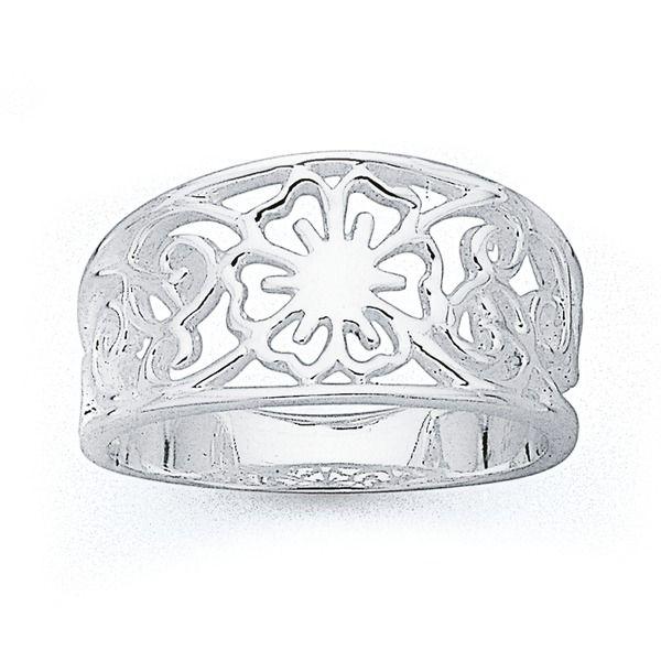 Sterling Silver Flower Filigree Ring