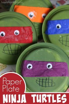 Paper Plate Teenage Ninja Turtle Craft - such a cute and easy craft for Ninja Turtle fans.  Perfect for toddlers and preschoolers because it's so easy.  This is also a great craft for kids who love ninja turtles but don't exactly love craft time. Sometimes all they need is a craft subject that really interests them! - Happy Hooligans