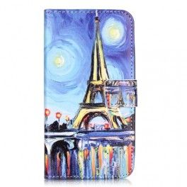 Huawei Y6 Pro sininen Eiffel-torni puhelinlompakko.