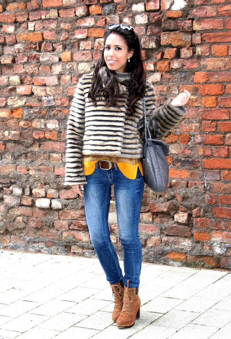 Touch of color!   #fashion #style #outfit  #look, Ray Ban in Glasses / Sunglasses, Sfera in Coats, Primark in Sweaters, Mango in Jeans, Mustang in Ankle Boots / Booties, Juan Blanco in Bags