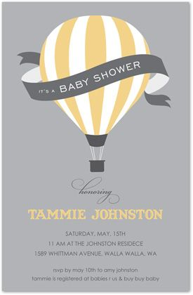 Gender Neutral Baby Shower Invitations, Hot Air Balloon Pastel Yellow, 25540