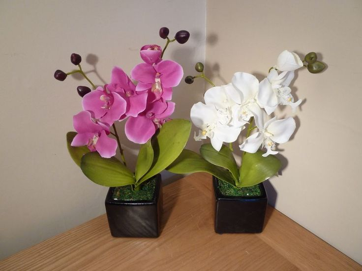 Artificial Orchid Plant In A Pot Small Flowers Potted Indoor House Office #UKGardens