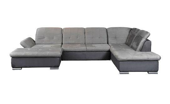 Štof siva/tamnosiva boja Uklj. podešavanje naslona i rukonaslona Uklj. ležaj cca. 123x320 cm Metalne nogare