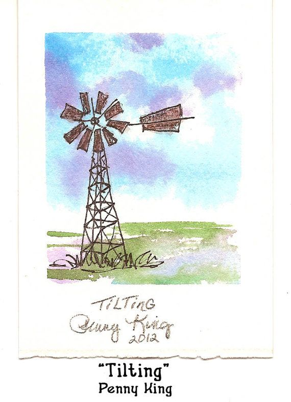 TILTING Original Watercolor & Ink Painting by by MissPootsiesPrims, $7.00