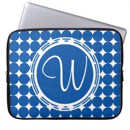Blue Polka Dot Monogram Computer Sleeve - patterns pattern special unique design gift idea diy