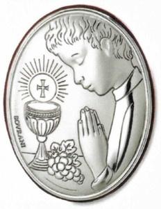 Srebrny obrazek w owalnym formacie, stanowi wyjątkową pamiątkę I Komunii Świętej. #komunia #prezent_dla_chlopca #dla_dziecka