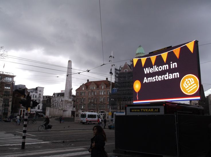 On Kings Day there were these Welcome (Welkom) in Amsterdam signs to greet visitors.  It was a cold, cloudy and rainy day