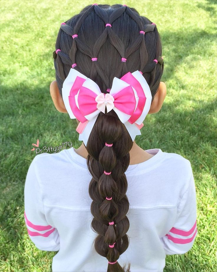 """Patricia  Kayliebee  on Instagram: """"✨""""You are free to choose, but you are not free from the consequences of your choice.""""✨ . Elastic net style into a pull through bubble stacked braid  . Beautiful aristocats Marie bow from @extrasweetbowtique  . #pr3ttyhairstyles  #extrasweetbowtique  #braidsforlittlegirls"""""""