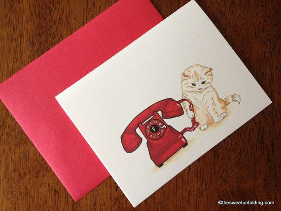 Kitten with Red Telephone Greeting Card