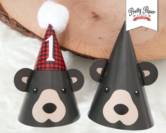 Black Bear 1st Birthday Party Hats // INSTANT DOWNLOAD // Lumberjack Birthday Party // Buffalo Plaid // Baby Bear Hat // Printable