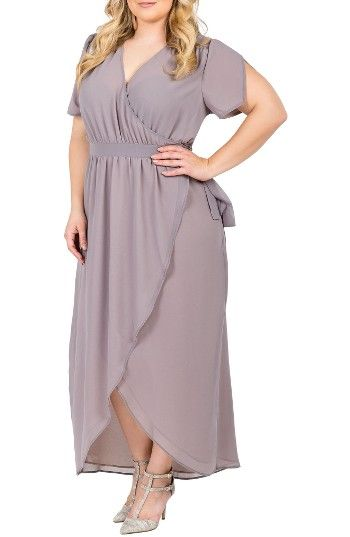 Standards & Practices Robin Wrap Maxi Dress (Plus Size) at Nordstrom.com. Notched tulip sleeves and a fluttery tulip hem enhance the fluid grace of a wrapped maxi dress cut from soft georgette.