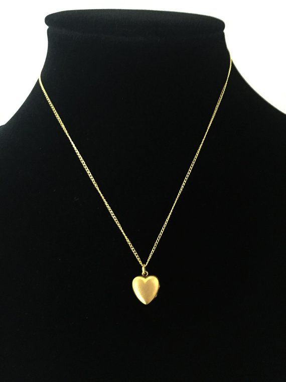 12k Gf Heart Locket Necklace Vintage 1950s 1960s 16 Fine Cable Chain 12 Karat Gold Filled Gift For Heart Locket Necklace Locket Necklace Vintage Heart Locket