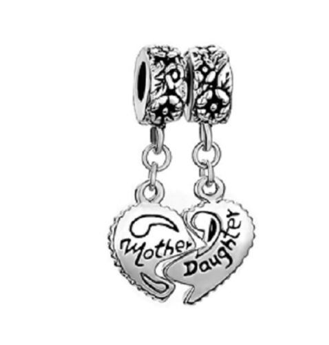 handmade silver DANGLE mother daughter bead charm european bracelet FREE