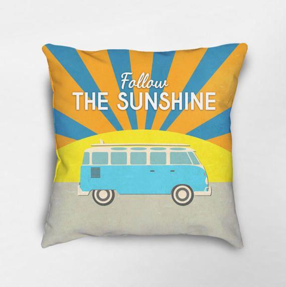 Surf Pillow, Surf Decor, Retro Bus Pillow, Gift for Surfer, Beach Pillow, Retro Pillow, Inspirational Pillow, Motivational Pillow
