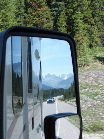 As an RV-er, sometimes you're the slow one on the road (especially when it comes to climbing hills). Of course we are polite and considerate RV-ers so move over and let the line of cars that have built up behind you pass!