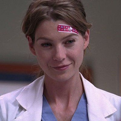 When Meredith was wearing the hello kitty bandaid all day at work