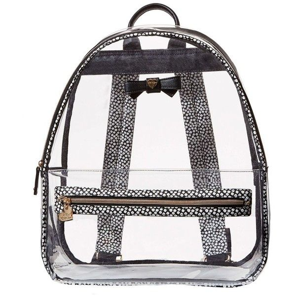 Betsey Johnson Back to School Clear as Can BE Backpack ($88) ❤ liked on Polyvore featuring bags, backpacks, blk polka dot, padded backpack, clear bags, transparent bag, clear zip bags and day pack backpack