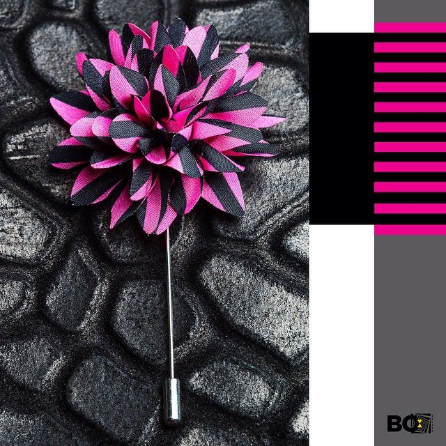 Whether the occasion is formal or casual, this lapel flower can set you apart instantly! Now, talk style with this black & pink striped lapel pin. #lapel #lapelpin #bosquare #mensfashion #menswear #accessories #fashion #style #mumbai #menstyle #bespoke #suave #sharp